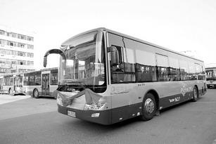 12月28日上午,48辆油电混合动力环保公交车在义乌集体亮相.高清图片